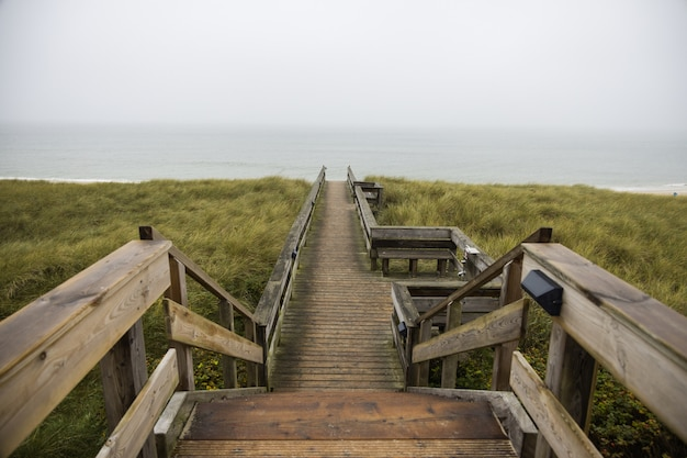 Beautiful shot of a wooden path in hills at the shore of the ocean in sylt island in germany