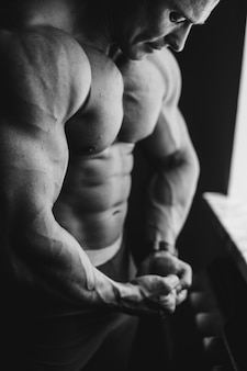 Beautiful shoulders handsome exercise adult