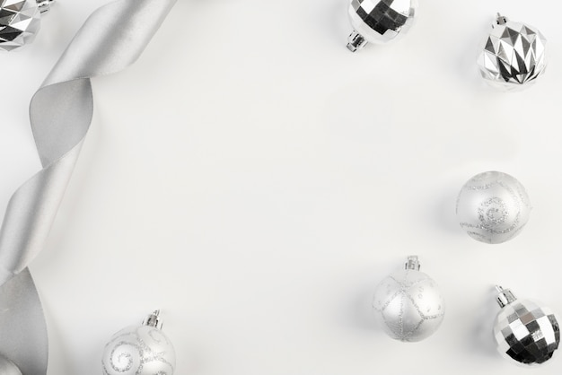 Beautiful silver christmas decor copy space background