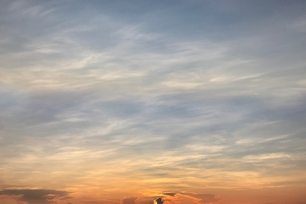 Beautiful sky and clouds in evening with sunset, natural.
