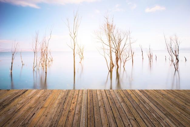 Bel cielo e fiume con il pavimento