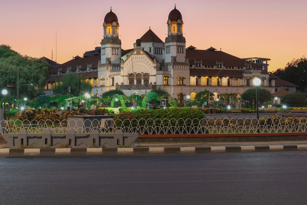 Beautiful sky of a sunrise at lawang sewu is historic building in indonesia located in semarang
