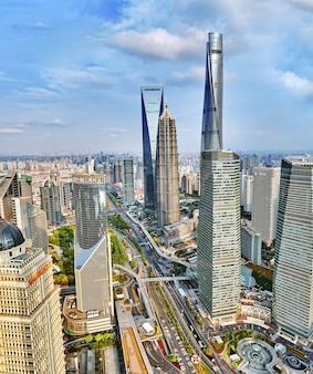 Beautiful skyscrapers, city building of pudong, shanghai, china.