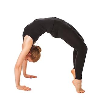 Beautiful slim woman doing yoga isolated isolated on white
