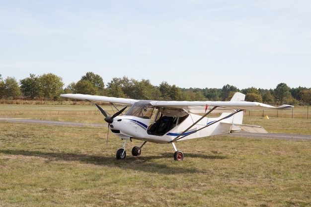 Beautiful small airplane at the airport -