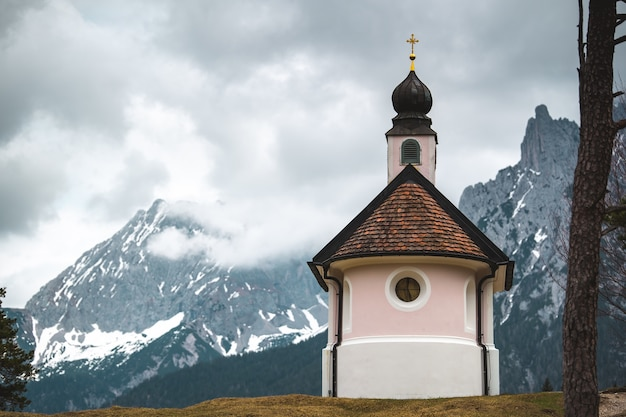 A beautiful small catholic church in the mountains of the bavarian alps