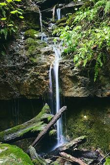 Красивый небольшой природный водопад через скалы в бревна и валуны с зеленым мхом