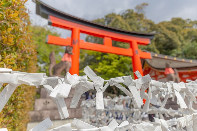 후 시미이나 리 신사 교토, 일본에서 아름다운 소원 플라크