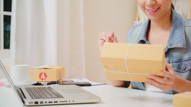 Красивое умное азиатское молодое предприниматель бизнес-леди предпринимателя мсп онлайн проверяя продукт на складе и сохраняет к компьютеру работая дома.