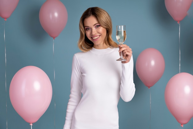Beautiful smiley woman enjoying a party