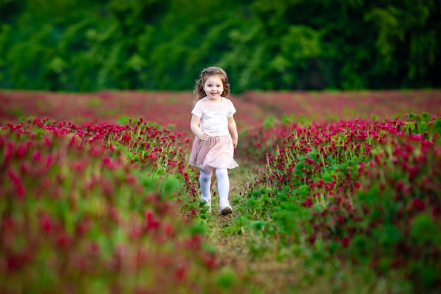 Beautiful smiling child girl in pink dress on field of red clover in sunset time
