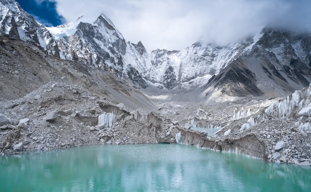 Beautiful snow-capped mountains with lake