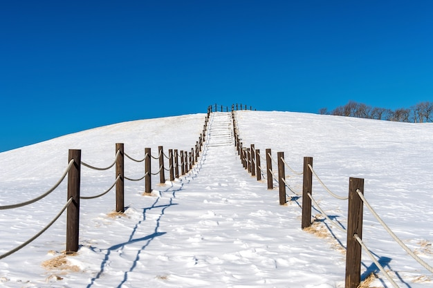 Beautiful snow stair walkway and blue sky with snow covered,winter landscape
