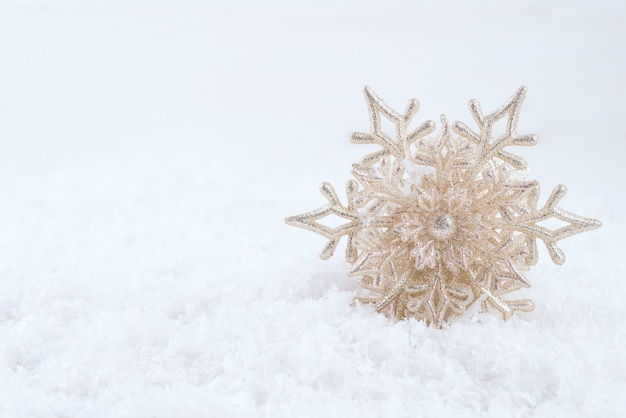 Beautiful snowflake on snow