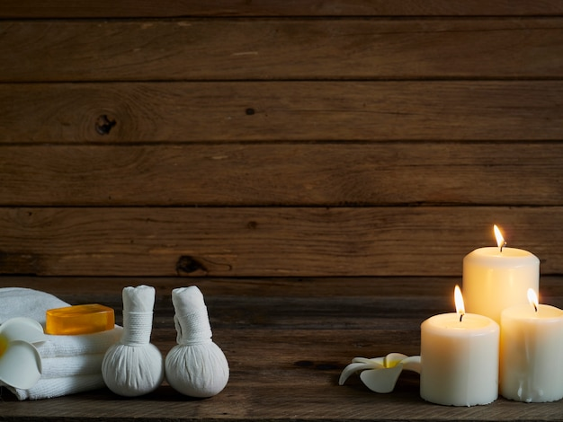 Beautiful spa composition on wooden wall.