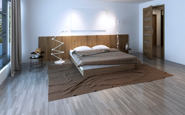 코티지 하우스의 아름다운 넓은 침실. 3d 렌더링
