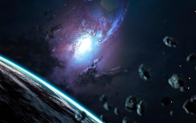 美しい渦巻銀河、素晴らしい空想科学小説の壁紙、宇宙の風景。 nasaによって提供されたこの画像の要素