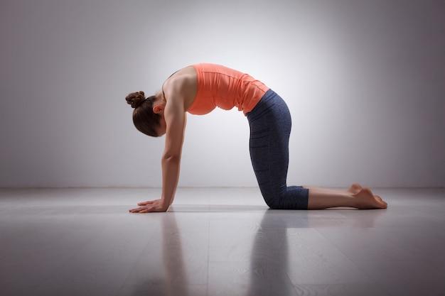 Beautiful sporty fit yogini woman practices yoga asana marjarias