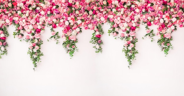 Beautiful spring background with flowers roses peonies. flower wall pink color
