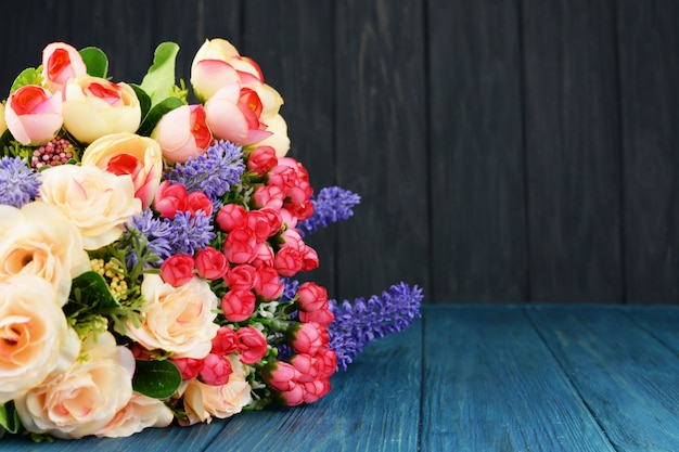 Beautiful spring bouquet of flowers from roses and lavender