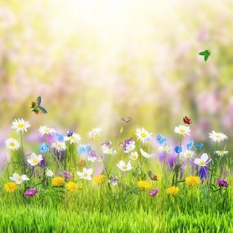 야생 꽃과 나비와 함께 아름 다운 봄 꽃 초원