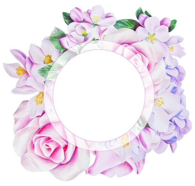 부드러운 색상의 아름다운 봄 프레임. 장미 꽃, 수국, 흰색 꽃으로. 연필과 수채화로 그린 그림입니다.