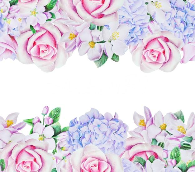 優しい色の美しい春のフレーム。バラの花、アジサイ、白い花が咲きます。鉛筆と水彩で描かれたイラスト。