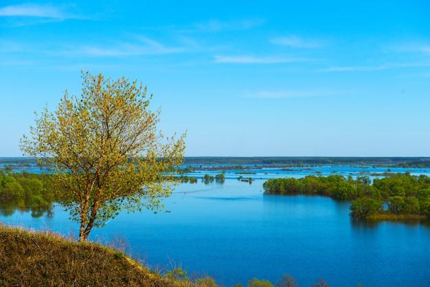 아름다운 봄 풍경. 언덕에서 홍수의 놀라운 전망. 유럽. 우크라이나. 흰 구름과 인상적인 푸른 하늘. 언덕 위의 작은 나무