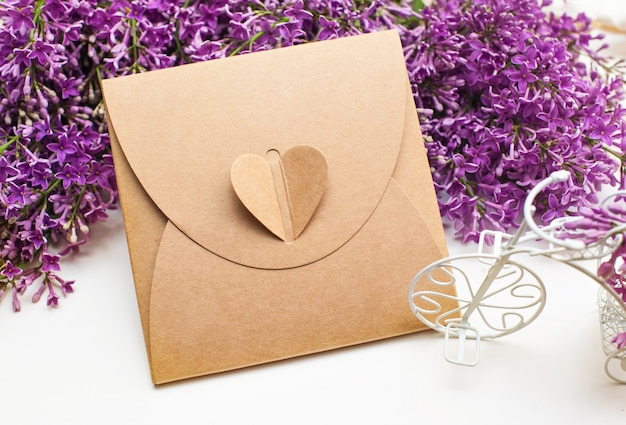 Beautiful spring lilac little white bike and gift box