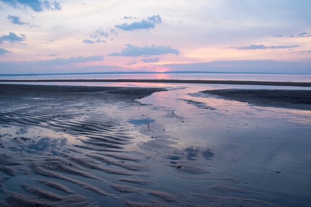 Beautiful spring sunset over a river volga near ulyanovsk. the widest place of the volga river.