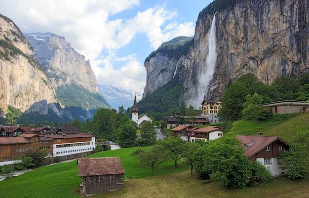 Beautiful staubbachfall waterfall at lauterbrunnen