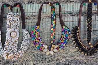 Beautiful stone necklace decorated beautifully.