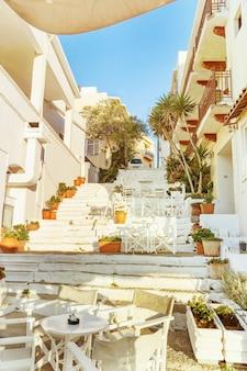 Beautiful street in agios nikolaos of greece
