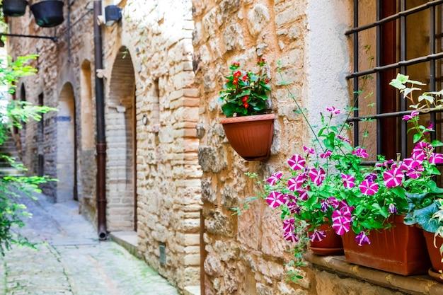 中世の町スペッロの花と美しい通りの装飾