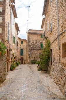 시에라 데 트라문타나 마요르카(sierra de tramuntana mallorca)의 발데모사(valldemossa) 마을에 식물이 있는 아름다운 거리