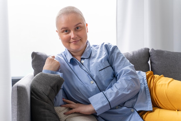 Beautiful strong woman fighting breast cancer