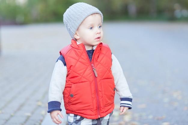 아름 다운 세련 된 아기 2 세 낙된 엽에 산책-가 장면. 유아는 가을 노란색 공원에서 야외에서 즐거운 시간을 보냅니다.