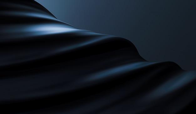 開発、飛行布で美しいスタイリッシュな黒の背景。カーテンと絹のひだと黒の背景。滑らかでエレガントなブラックシルクまたはサテンの質感。豪華な背景デザイン。 3dレンダリング。