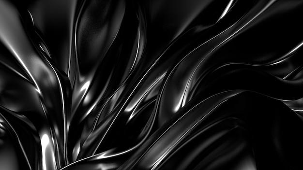 プリーツ、ドレープ、渦巻きの美しいスタイリッシュな黒の背景。 3dイラスト、3dレンダリング。