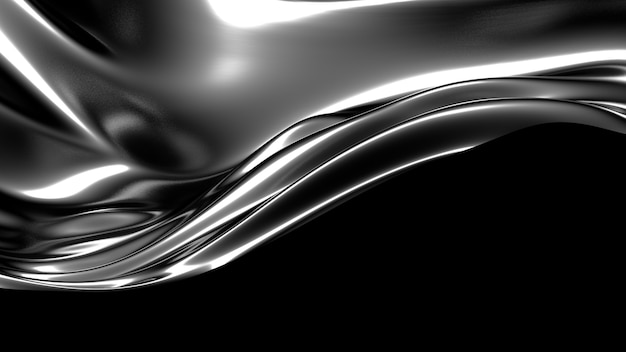 Красивый стильный черный фон со складками, шторами и завитками 3d рендеринга
