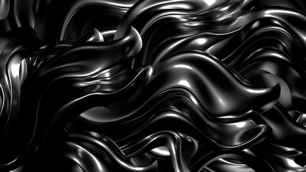 Красивый стильный черный фон со складками, драпировками и завитками. 3d-рендеринг.