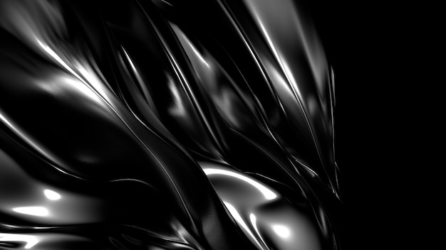Beautiful stylish black background with pleats, drapes and swirls 3d illustration rendering