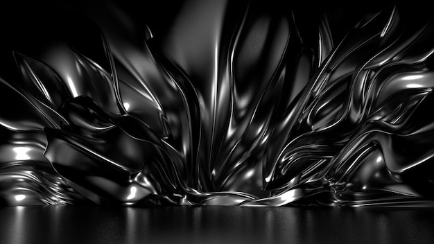 Beautiful stylish black background with pleats and swirls 3d illustration rendering