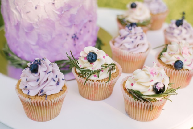 Beautiful stylish delicious wedding cake with berries and cupcakes on white table and nature background, selective focus