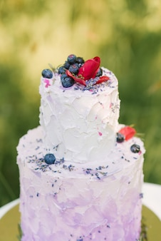 Beautiful stylish delicious wedding cake with berries on white table and nature background, selective focus