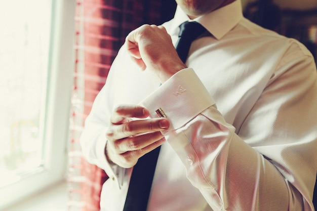 Beautiful stylish groom dressing for the ceremony