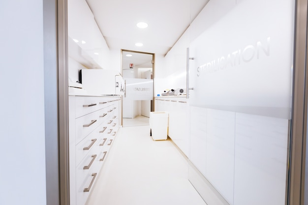 Beautiful stylish white office of a successful doctor