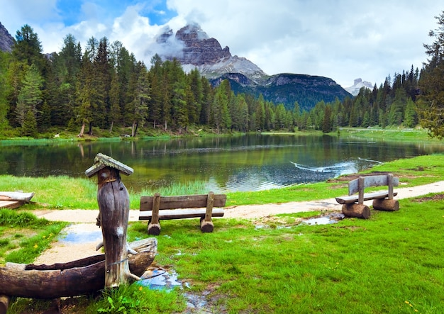 Beautiful summer alpine lago di antorno view