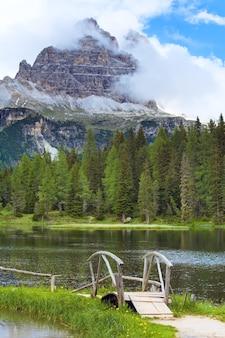 Beautiful summer alpine lake lago di antorno view