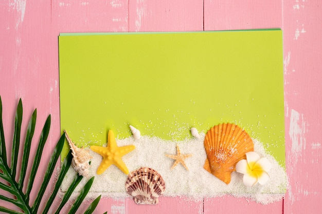 Beautiful summer holiday, beach accessories, seashells, sand and palm leave on paper